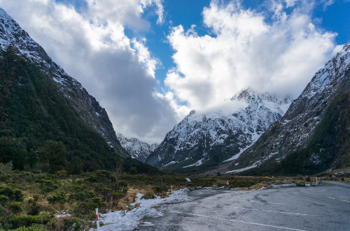 Snow on mountains and the shore in New Zealand